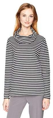 Anne Klein Women's Long Sleeve Striped Cowl Neck Top