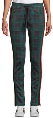 Pam & Gela Stewart Plaid Racer Stripe Cigarette Track Pants