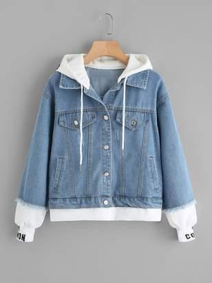 Shein Plus 2 In 1 Hooded Denim Jacket