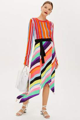 Topshop Rainbow Stripe Midi Skirt