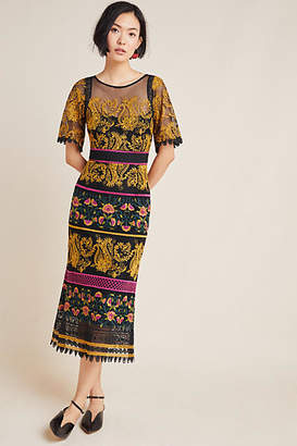 Anthropologie Jacquin Embroidered Midi Dress