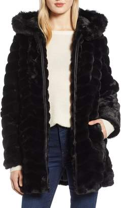Gallery Hooded Chevron Faux Fur Coat