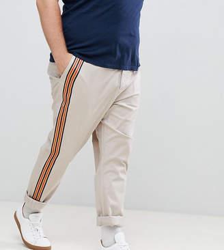 Asos DESIGN Plus slim pants with front stripe in mushroom