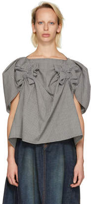 Junya Watanabe Black and White Gingham Bow Blouse