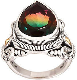 Artisan Crafted Sterling Watermelon QuartzTriplet Ring