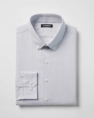 Express Slim Striped Button Collar Dress Shirt
