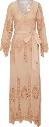 Nicholas Guipure Lace-paneled Cotton And Silk-blend Wrap Maxi Dress
