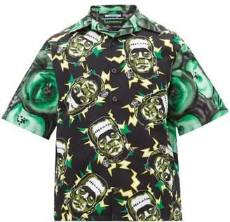Prada Frankenstein's Monster Print Poplin Shirt - Mens - Green