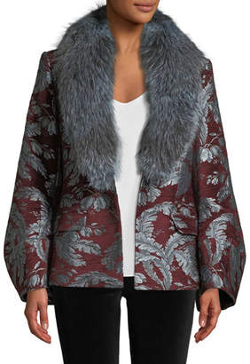 Cinq à Sept Courtney Jacquard Single-Button Jacket w/ Fox Fur Collar