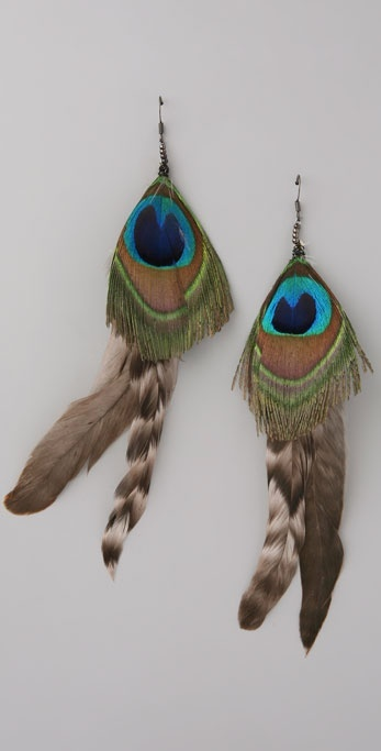 Wgaca Vintage Peacock Feather Earrings
