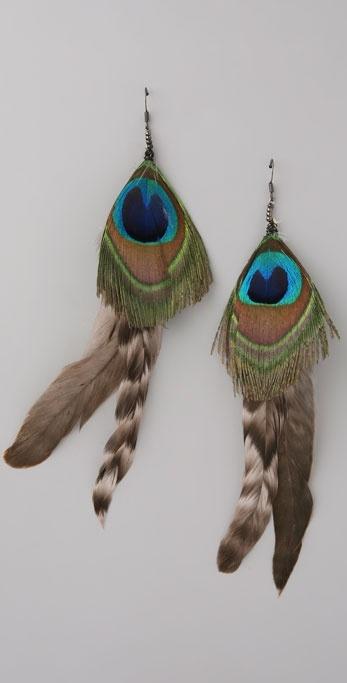 Wgaca Vintage Peacock Feather Earrings