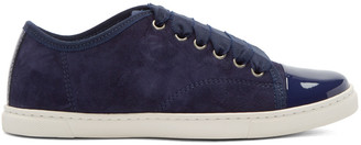 Lanvin Navy Suede & Patent Leather Sneakers $595 thestylecure.com