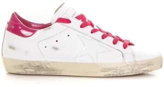 Golden Goose White & Fuxia Superstar Sneakers In Leather