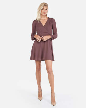 Express Surplice Fit And Flare Dress
