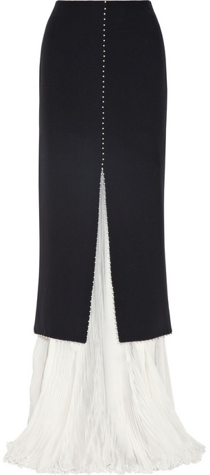 Alexander McQueen Embellished crepe and silk-chiffon maxi skirt
