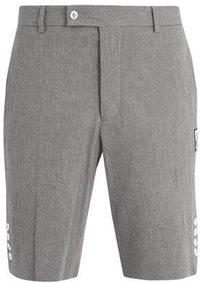 Moncler - Slim Leg Cotton Seersucker Shorts - Mens - Grey