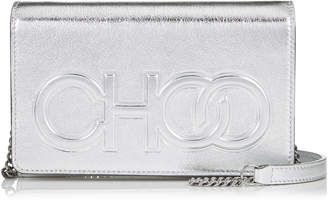 Jimmy Choo SONIA Silver Metallic Nappa Leather Day Bag with Chain Strap