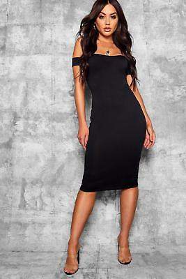 boohoo NEW Womens Off Shoulder Curved Neckline Midi Dress in Polyester