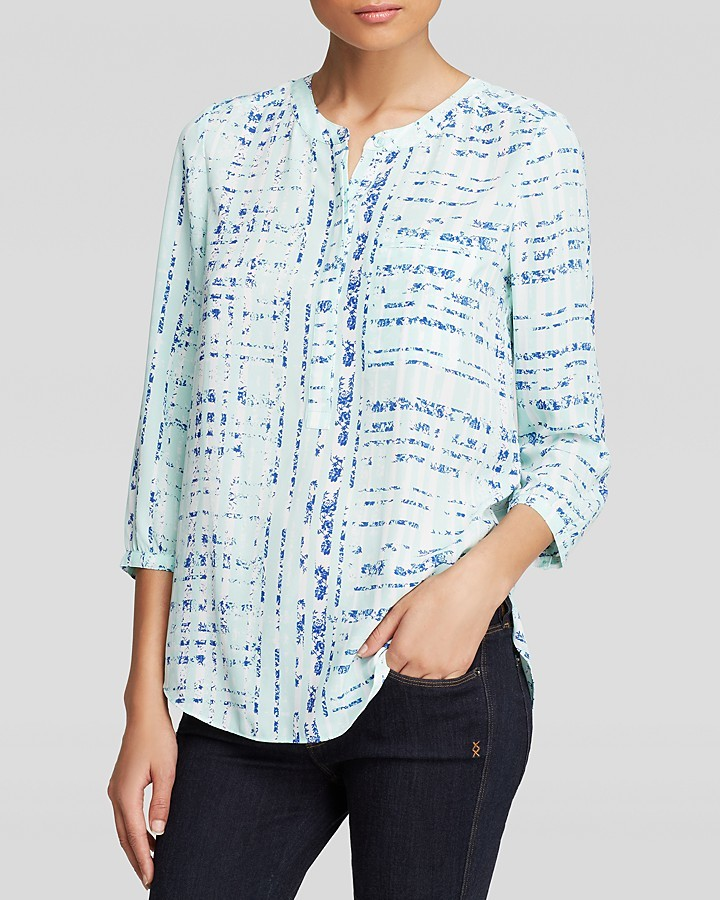 NYDJ Plaid Floral Print Blouse