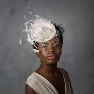 d7fc086b98855 Sahar Millinery Bridal Feather Cocktail Hat With Net Veil