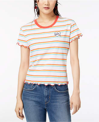 Hybrid Juniors' Nope Striped T-Shirt