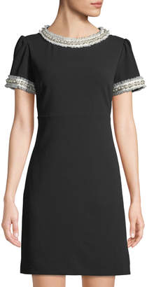 Betsey Johnson Tulle & Pearly Crepe Puff-Sleeve Dress