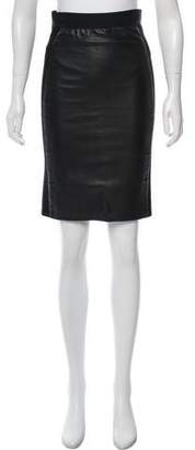 Mason Leather-Accented Knee-Length Skirt