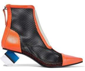 Emilio Pucci Color-Block Mesh Leather And Perspex Ankle Boots