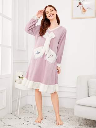 c4b252de63 Shein Bow Detail Ruffle Hem Plush Night Dress