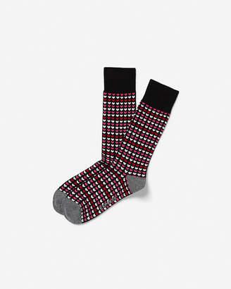 Express Heart Row Printed Dress Socks