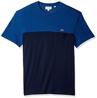 Lacoste Men's Short Sleeve Color Block Mini Pique+Jersey Reg Fit T-Shirt