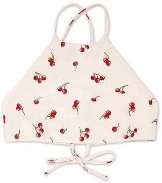 Forever 21 Cherry Print High-Neck Bikini Top