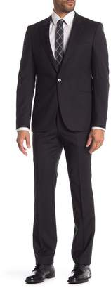 BOSS Solid Two Button Notch Lapel Wool Suit