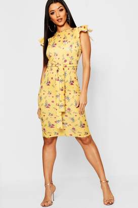 boohoo Floral Print Frill Belted Midi Dress