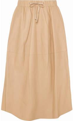 Vince Leather Midi Skirt - Beige