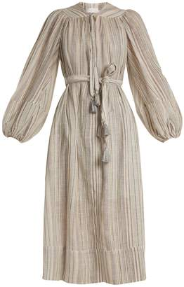 Zimmermann Helm striped cotton and linen-blend dress