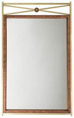 One Kings Lane Vintage Large Brass & Burl Mirror by Mastercraft