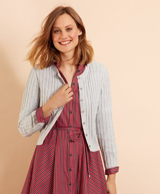 Brooks Brothers Wool-Cotton Cable-Knit Cropped Cardigan
