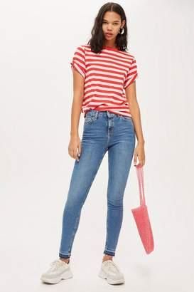Topshop Mid Blue Let Hem Jamie Jeans