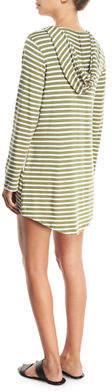 Splendid Hooded Scoop-Neck Long-Sleeves Striped Tunic