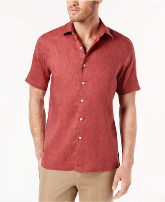 Tasso Elba Men's Leaf-Print Short Sleeve Button Down, Created for Macy's
