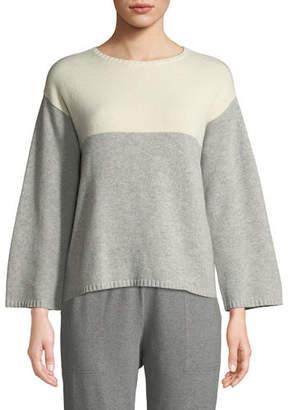 Eileen Fisher Lofty Cashmere Colorblock Box Sweater