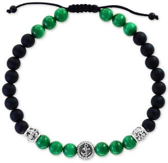 Effy Men Malachite (6mm) & Onyx (6 & 3mm) Nylon Cord Bolo Bracelet in Sterling Silver