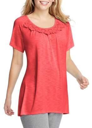 Just My Size by Hanes Women's Plus Size Slub Crochet Trim Tunic