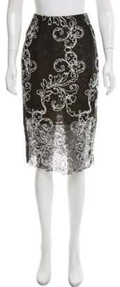 Oscar de la Renta Lace Knee-Length Skirt Black Lace Knee-Length Skirt