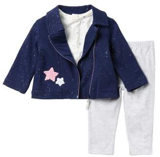 Little Me Star Moto Hoodie, Top, & Legging Set (Baby Girls)