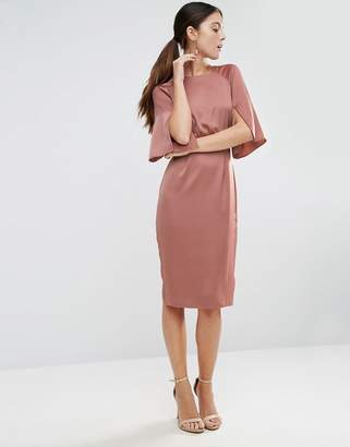 ASOS Wiggle Dress in Satin with Split Sleeve $68 thestylecure.com