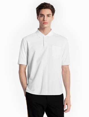 Calvin Klein slim fit cotton knit curve pocket polo shirt