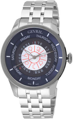Gevril Columbus Circle Stainless Steel Blue Dial Automatic Watch