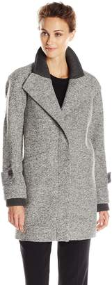 French Connection Women's Single Breasted Wool Coat with Knit Sleeves